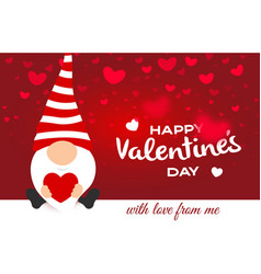valentine day greeting card cartoon cute gnome vector image