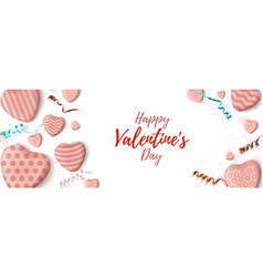 valentines day horizontal banner abstract vector image