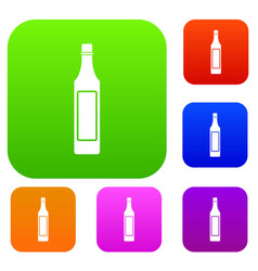 Vinegar bottle set color collection vector
