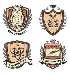 Vintage colored university emblems set vector
