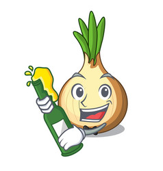 With beer fresh yellow onion isolated on mascot vector