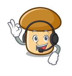 With headphone porcini mushroom mascot cartoon vector