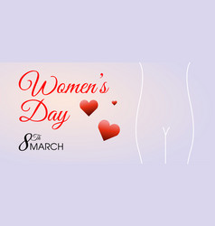 womens day background with hearts and silhouette vector image