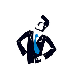 Young attractive businessman logo or icon vector