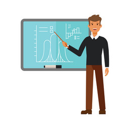 Young male teacher on lesson at blackboard cartoon vector