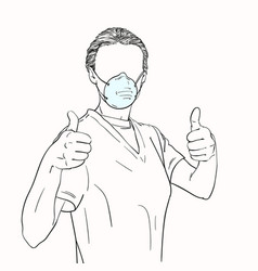 Young woman with no face in medical face mask vector