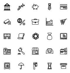 Banking and financial line icons on white vector image vector image