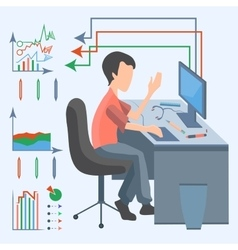 Man computer graphic vector image vector image
