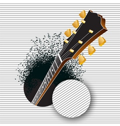 A guitar pops out of a hole vector image vector image