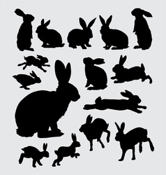 Cute rabbit pet action silhouettes vector