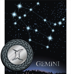 Gemini zodiac sign Twins zodiac poster vector image vector image