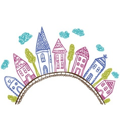 Houses on hill - doodle vector image vector image