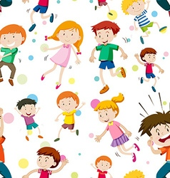 Seamless background with happy children vector image vector image