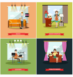 set of radio station posters banners in vector image vector image
