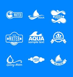 blue logos set label for mineral water aqua vector image vector image