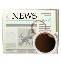 coffee and newspaper vector image vector image