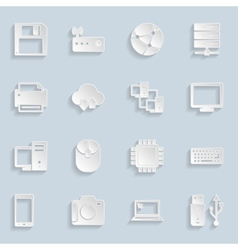 Paper Technology Icons Set vector image