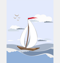 sailboat sails on the waves with white sails with vector image