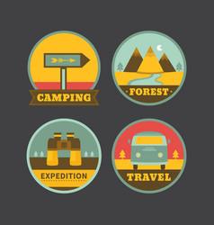 set of vintage camping logos vector image