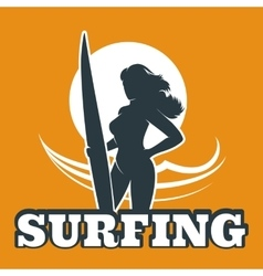 Surfing Colorful Emblem vector image