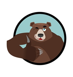 Bear thumbs up and winks all well Grizzlies Signs vector image vector image