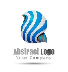 Blue Vortex Volume Logo Colorful 3d Design vector image