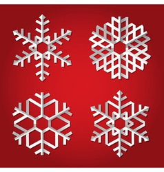 Christmas origami snowflakes on red background vector image vector image