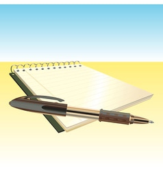 elegant pen and notebook vector image