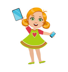 girl holding tablet and smartphone part of kids vector image vector image