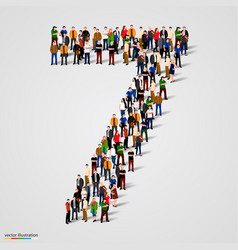 Large group of people in number 7 seven form vector