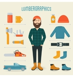 Lumberman fashion trend infographics elements vector