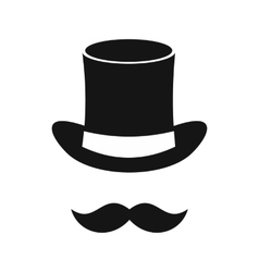 Magic black hat and mustache icon simple style vector image vector image