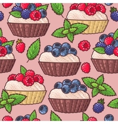 Seamless cakes vector image