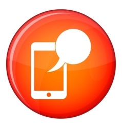 Speech bubble on phone icon flat style vector image vector image