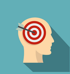 Target goal in human head icon flat style vector