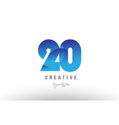 20 blue gradient number numeral digit logo icon vector