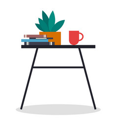 a small table with stack books potted plant vector image