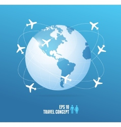 airplanes flying around globe travel concept vector image