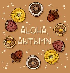 Aloha autumn decorative wreath cute cozy banner vector