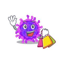 Alpha coronavirus waving and holding shopping bag vector