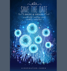 amazing dandelions with magical lights vector image