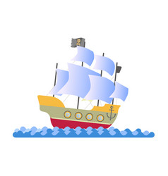 ancient pirate ship with white sails and black vector image