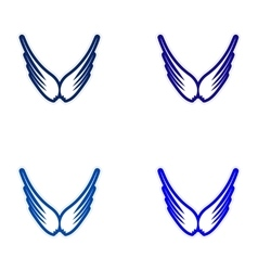 Assembly stickers eagle wings vector