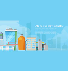 atomic energy industry with low poly nuclear power vector image