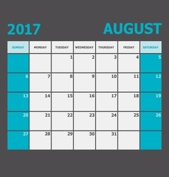 August 2017 calendar week starts on Sunday vector