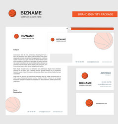 basketball business letterhead envelope and vector image