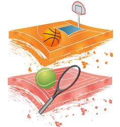 basketball field and tennis field vector image