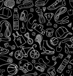 Black and white Sport and fitness seamless doodle vector
