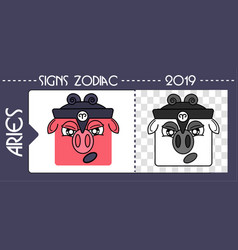 Black zodiac pig aries vector