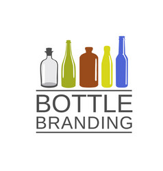 Bottle color art and drink cafe logo vector